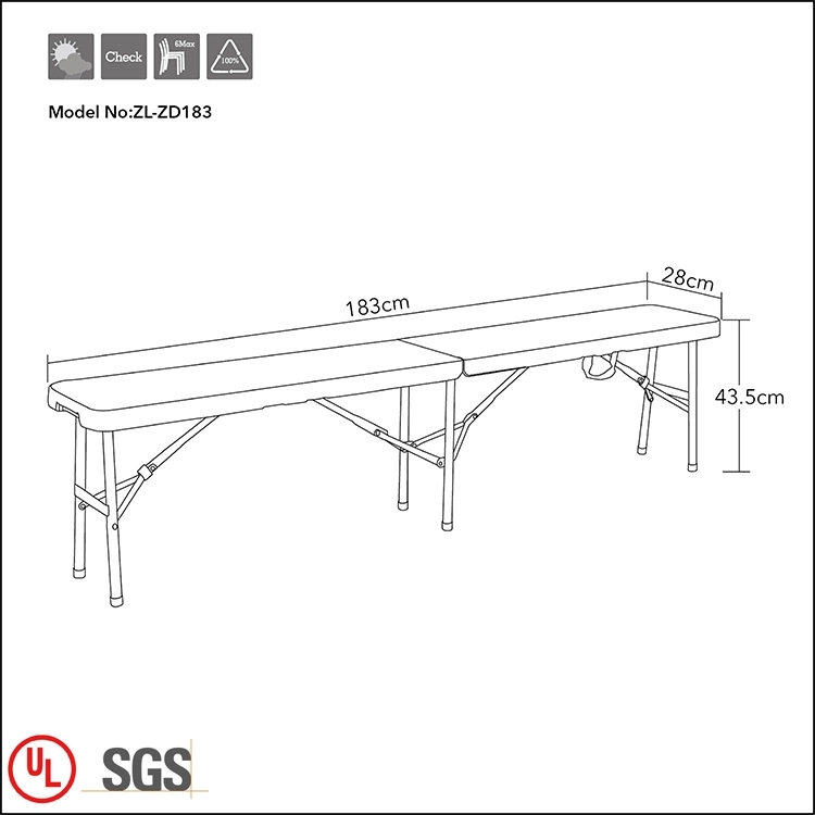 6ft Folding Plastic Bench