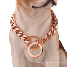 Factory Drop Shipping 12mm Hot Sale Dog Collar Stainless Steel Rose Gold Pet Big Dog Chain Pet Supplies