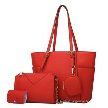 Women's shopping Tote Handbag Clutch Card Holder Coin Pocket 4 Pcs Lady PU Leather Hand bag Set