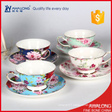 coffee shop beautiful tea cups / modern floral tea cups / high quality elegant china coffee cups