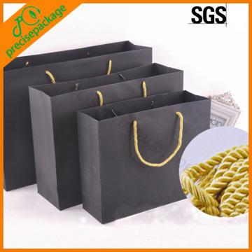 China black golden three stranded rope paper shopper bag