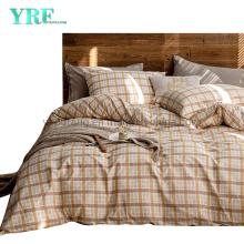 Condo Cotton Bedding Set High Quality Modern Design Sandy Brown Plaid Deep Pocket