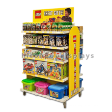 Kids Products Shop Movable 4-Caster Freestanding 5-Layer Metal Wood Vinyl Made Toys Display Shelf
