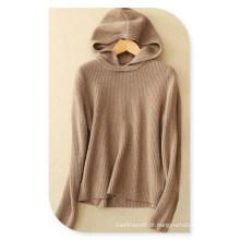 Lady \ 's Pure Cashmere camisola com capuz pulôver com gola mangas compridas camisola para o outono / inverno