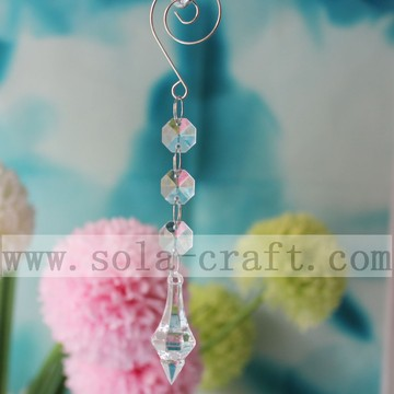 Decorative Crystal Chandelier Lighting Icicle Pendants Acrylic Octagon Beads Prism With Jump Ring