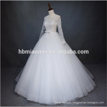 Luxury beaded 2018 new fashion floor length puffy wedding dress long sleeves with rope design