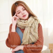 Fashion fancy design warm winter maxi ladies hijab women soft bandhnu color tassels latest design scarf shawl
