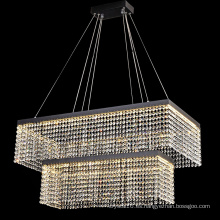 Candelabro decorativo de cristal rectangular grande de dos pisos caliente