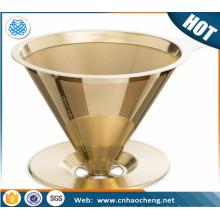 Titangeschichtetes Gold gießen über Kegel-Tropfreuselbarer Edelstahl-Kaffeefilter für Chemex, Hario, Karaffen