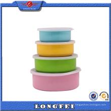 Colorful Stylish S / S Storage Bowl Set com tampa de plástico