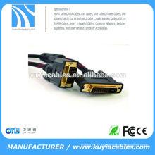 Câble DVI-D DVI 24 + 1 tressé noir rouge de haute qualité avec ferrites Mâle à mâle M / M fil 28AWG