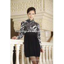 vestido de confecção de malha de cashmere feminino de escritório elegent