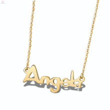 Alphabet Plate Stainless Steel Angel Custom Personalized Name Necklace