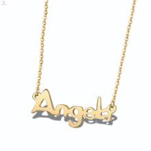 Colar conhecida personalizada anjo de aço inoxidável do anjo da placa do alfabeto