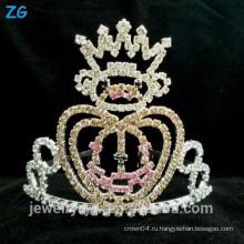 Мода Посеребренная Дети Хрустальные Хэллоуин тыквы Корона для использования в конкурсе