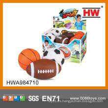 Divertido deporte de juguete PU balón de rugby de fútbol baloncesto conjunto pu estrés bola para niño