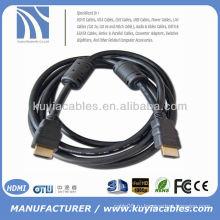 Позолоченный 1,5 м черный кабель HDMI и hdmi для ТВ-проектора hdtv