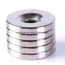 Магниты с потайными отверстиями с никелевым покрытием