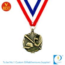 China Kundenspezifische hochwertige antike Messing-3D-Baseball-Medaille im kupfernen Stempeln