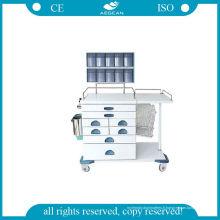 (AG-AT017) Chariot d'anesthésie en acier de revêtement de puissance de haute résistance
