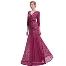 Starzz 2016 3/4 Sleeve Floor-Length V neck Long Wine Red Elegant Lace Evening Dress ST000012-2