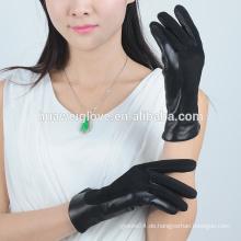 2015 Mode weiche Schaf Wildleder Damen balck Leder Handschuhe