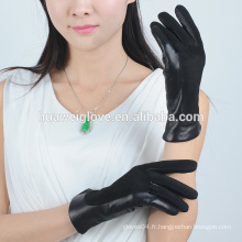2015 mode doux de mouton en daim ladies balck gants en cuir