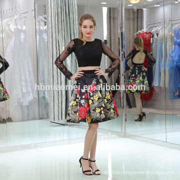 Short style lace fabric long sleeve evening dress for big size fashion and elegent lady