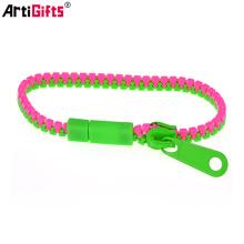 Wholesale personnalisé mode coloré fermeture à glissière en plastique bracelets