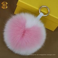Hochwertige handgefertigte Herzform Fox Pelz Ball Bobble Schlüsselringe Anhänger Tasche Charm