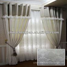 flocked linen curtain with embroidered