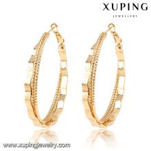 91658 Pendiente de forma redonda hecho a mano de Xuping chapado en oro 2016 sin piedra