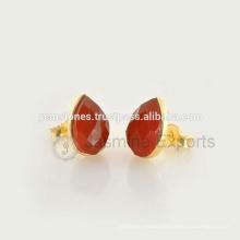 Wholesale Vermeil Gold Red Onyx Gemstone Bezel Stud Earrings Handmade Best Quality Stud Earrings Manufacturer