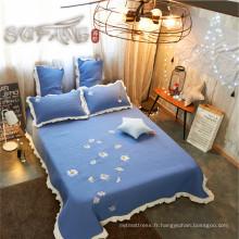 Or Sufang meilleure vente daisy bleu logo ensemble de couverture de lit ensemble 300TC courtepointes ensemble de literie