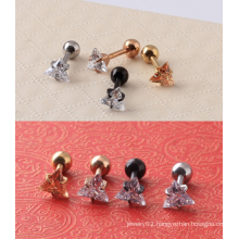 Surgical Steel Clear CZ Triangle Fake Ear Cartilage Tragus Plug Earrings