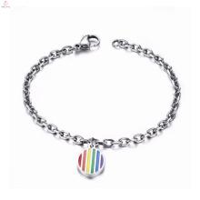 Gay-Pride-Edelstahl-Verschluss-Schmuckarmband mit Regenbogencharme