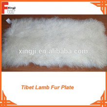 Bleached White Good Curl Tibet Lamb Fur Plate