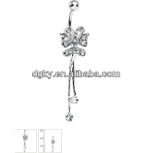 Butterfly piercing belly button ring