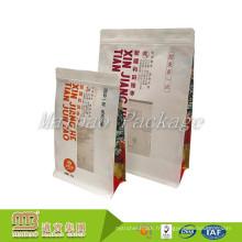Sac de papier de Kraft de fond plat carré résistant à l'humidité de gousset latéral adapté aux besoins du client avec la fenêtre claire et la tirette