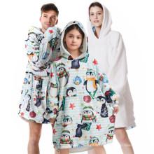 Warm Wearable Hooded Oversized Printed Winter Fleece Sofa Huggle Sherpa Oversized Plush Hoodie Blanket