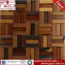 Китай производство горячая конструкция изделия прочная конструкция деревянная мозаика настенная плитка