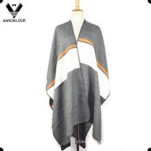 Poncho de xale listrado de alta qualidade moda 2016 das mulheres