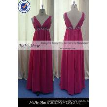 V Ausschnitt Open Back Damen Kleider Online für Party mit Chiffon Red Brautkleid Pageant Kronen BYE-14059