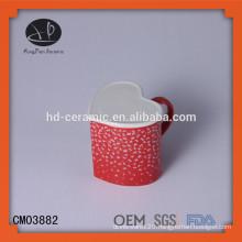 OEM Red heart shape ceramic couple mug stoneware mug, heart shaped Ceramic mug supplier