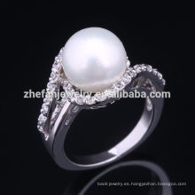 2018 venta de perlas de plata 925 anillo de perlas