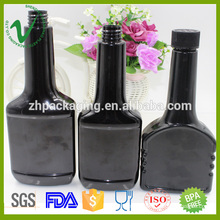 empty disposable industrial use amber bottle 300ml flat shape with child proof cap