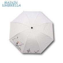 Оптовая продажа логотип индивидуальные DIY Живопись цветок печать сплошной Цвет сублимации Белый зонтик для Свадебные подарки