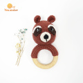 Anillo de dentición de madera natural Crochet Bear Rattle Toys
