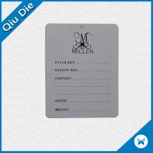 Papel de impresión simple Etiqueta de caída para muestras de prendas de vestir