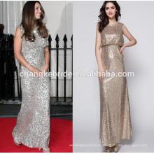 Elegante vestido de noche de lentejuelas de longitud completa muchos colores Moda vestido de fiesta sin mangas